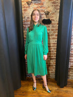 Kelly green multi buttons dress