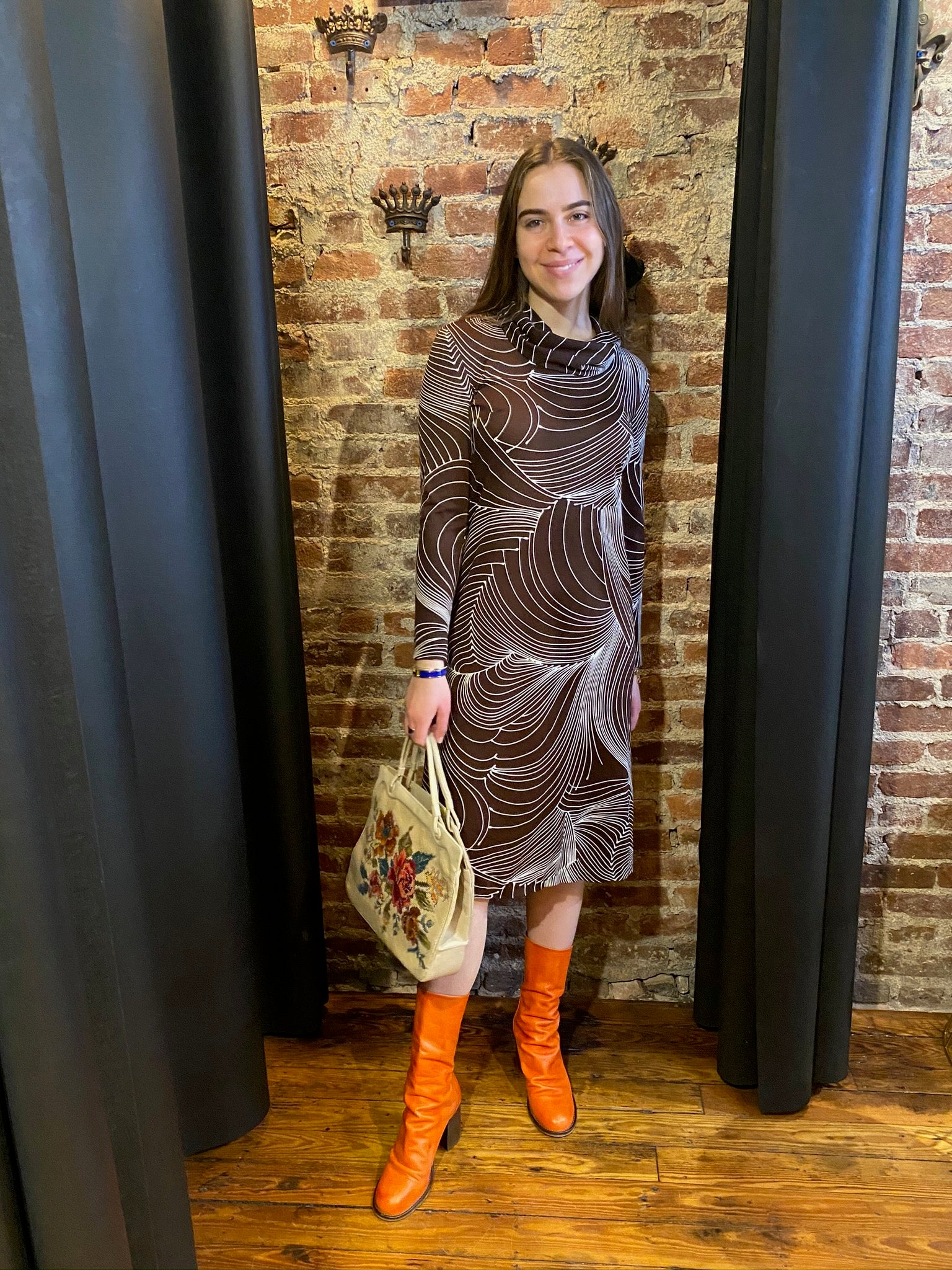Brown cowl swirl dress