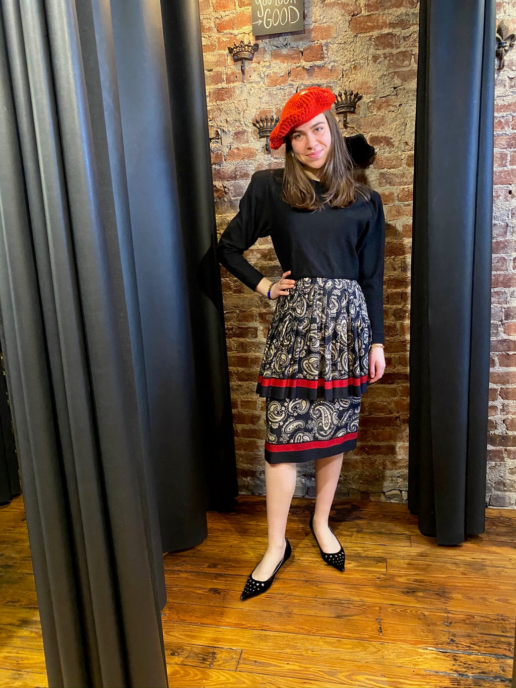 Black and red tiered paisley dress