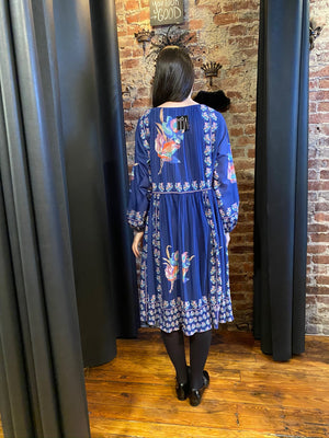 Royal blue pleated floral dress