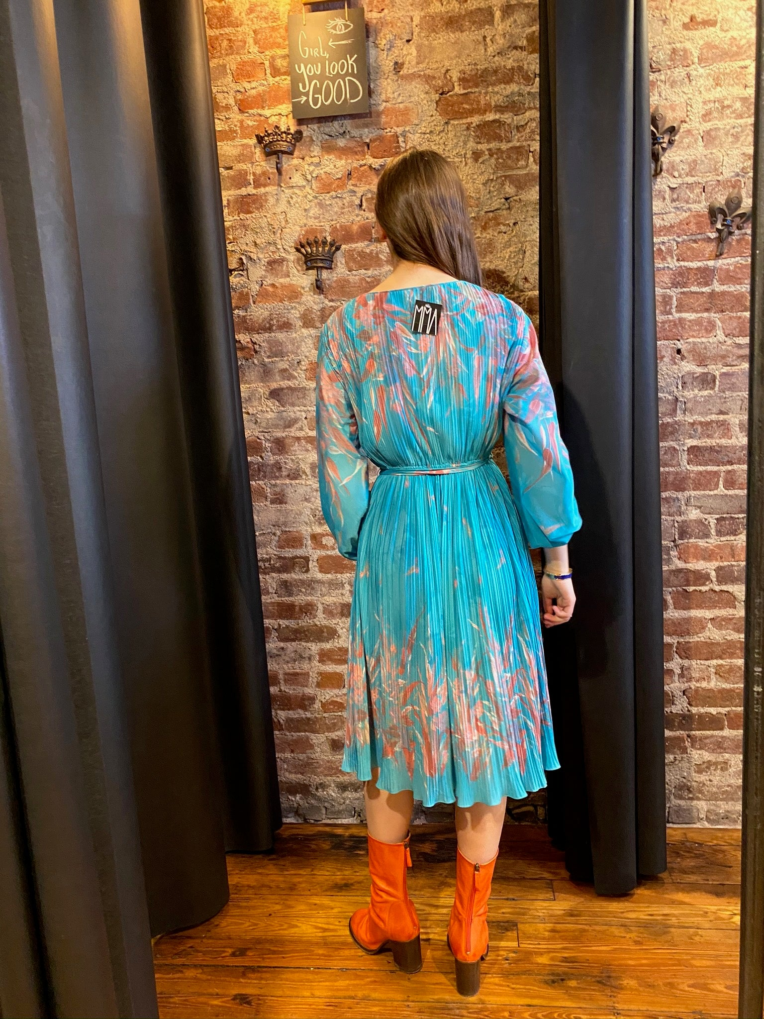 Turquoise pleated floral dress