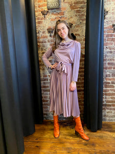 Pleated lilac dress