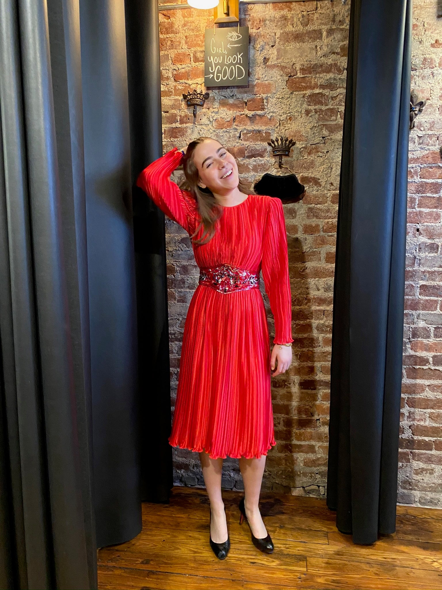 sequin belted red pleated dress