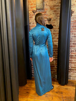 Wrap bodice royal blue maxi