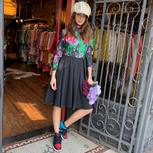 Floral dress with black circle skirt