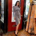 silver grey ruched dress