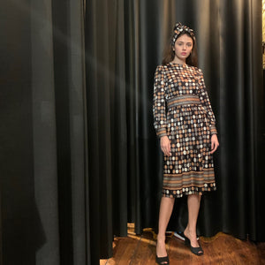 Black brown and beige polka dot dress