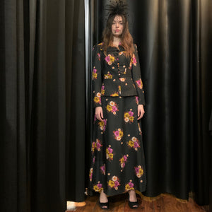 Peplum black floral suited maxi