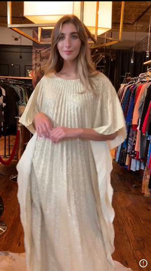 Pleated lurex white caftan