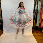 White,blue and pink floral knife pleated dress
