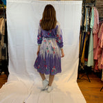 Knife pleated lurex purple dress