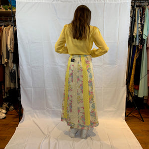 Patchwork floral yellow baby dot maxi skirt