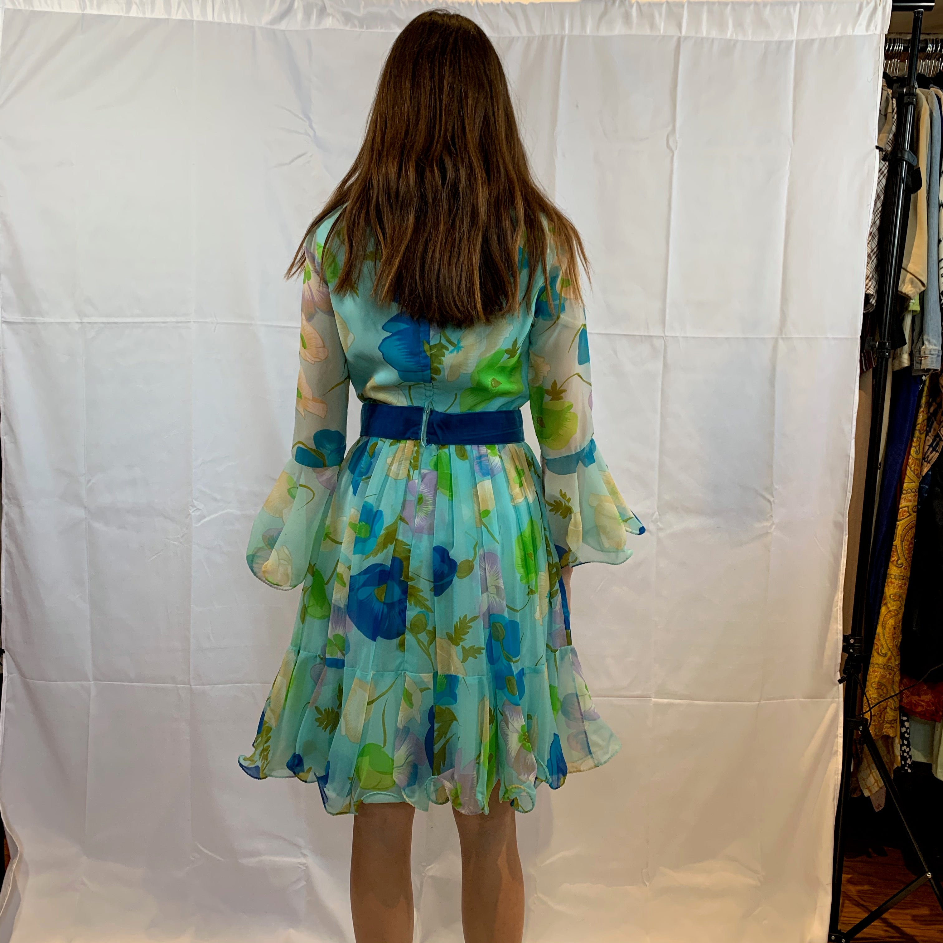 Vibrant green floral chiffon with velvet bow belt