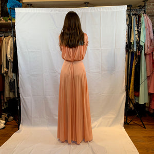 Pleated peach maxi