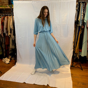 Sky blue pleated maxi