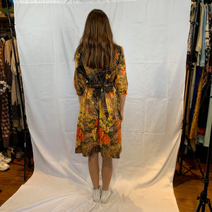 Brown jungle print floral dress