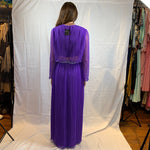 Knife pleated purple gown maxi