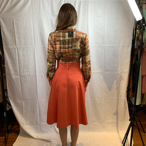 Orange and chocolate plaid dress