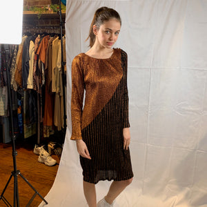 Copper and black lurex dress