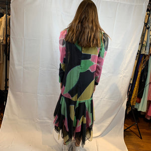 Asymmetrical multicolored chiffon dress