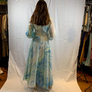 Watercolor blues abstract chiffon gown