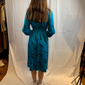Teal and black zebra swing dress