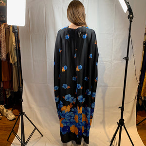 Black kimono with blue and orange flowers