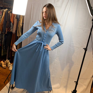 Sky blue lurex dress