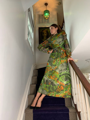 Chiffon lurex green jungle print gown
