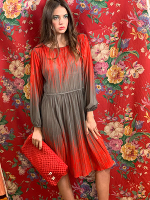 Red and cocoa pleated airy dress