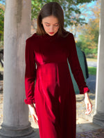 Silk velvet empire waist Burgundy maxi