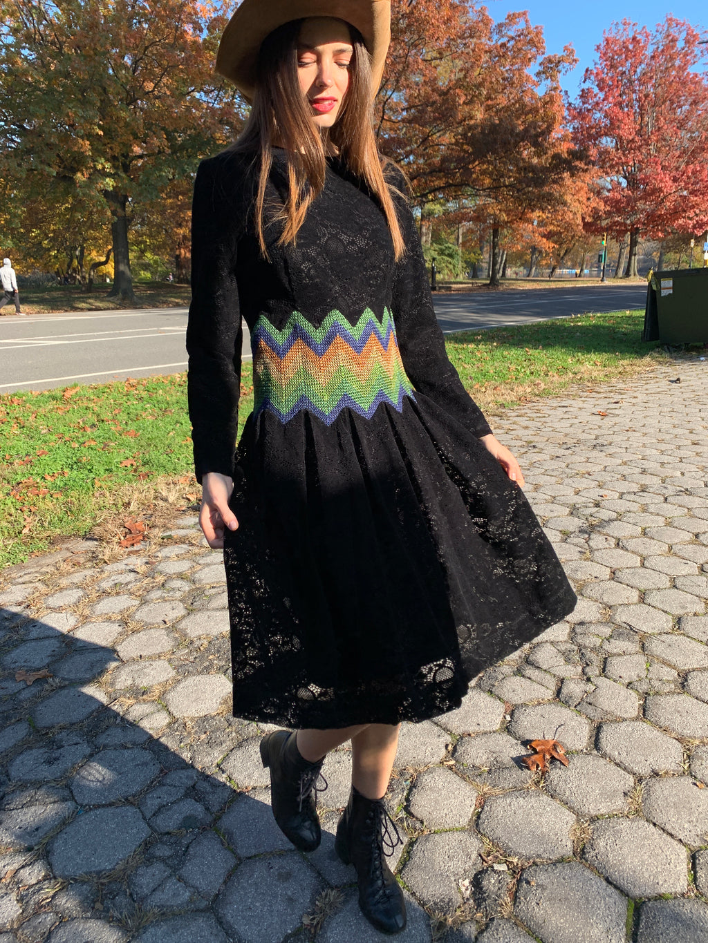 Black velvet lace with rainbow waist dress