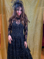 Black tiered lace dress with shots of gold