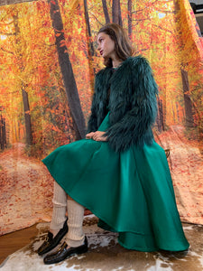 Emerald high low duchess satin midi skirt