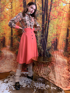Fall patchwork dress in burnt orange