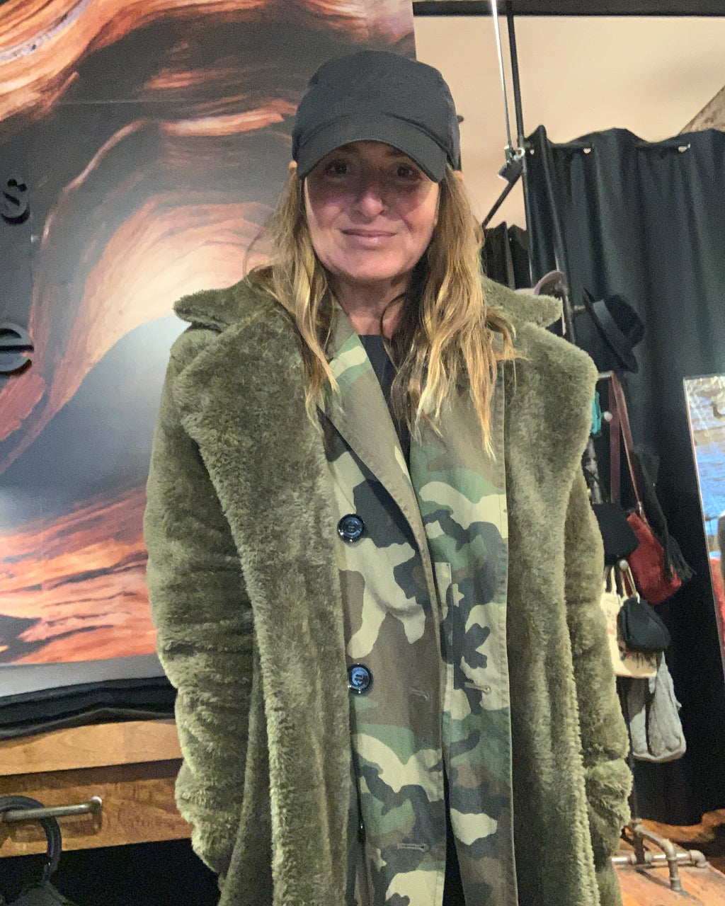 Army green fuzzy coat