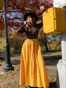 Yellow taffeta maxi with black lace bodice
