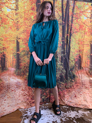Teal slinky pleated dress