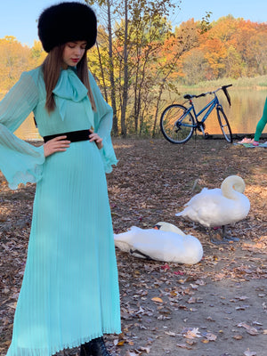 Two piece Mint pleated maxi Masterpiece