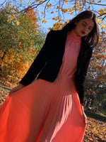 Peach pleated maxi
