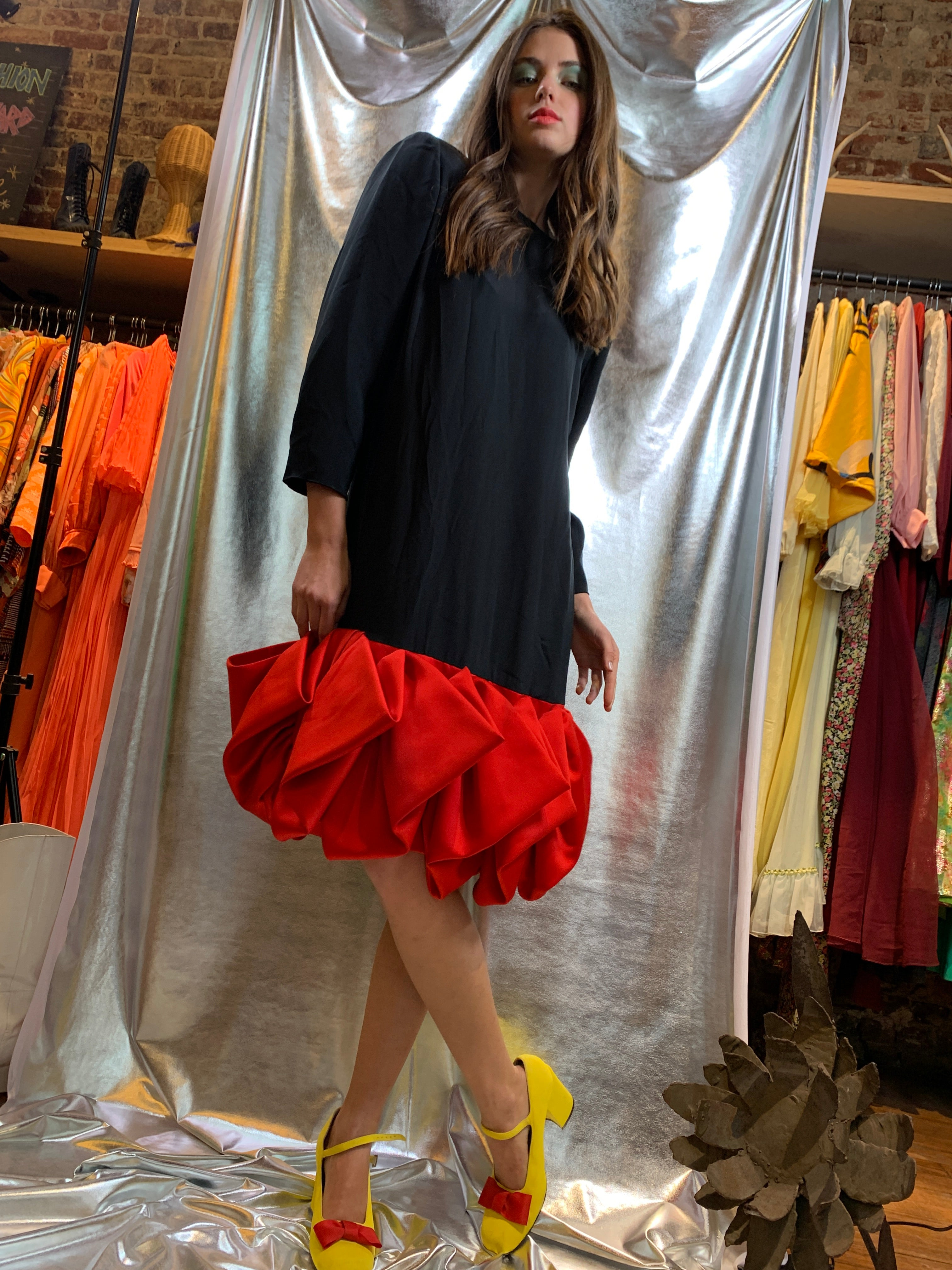 Red origami bottom black shift dress