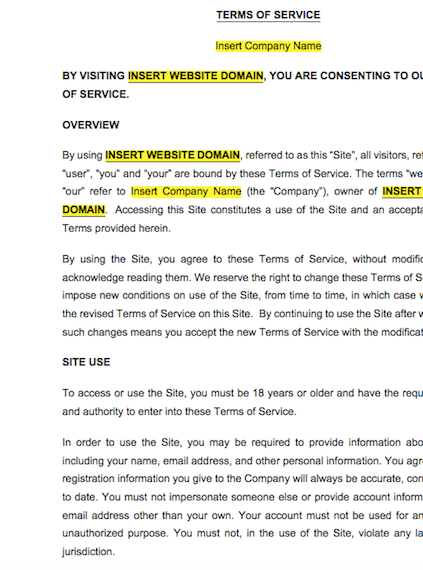 Website Terms of Service & Disclaimers