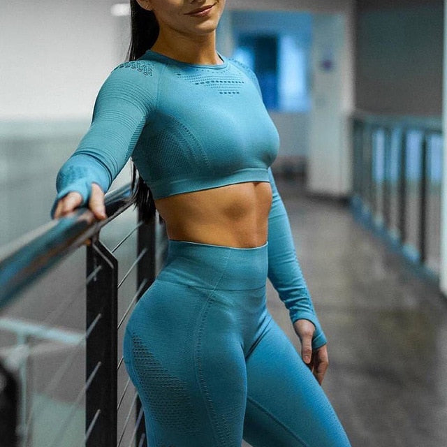 2020 New Women's Fitness T-Shirt Sport Crop Top and Pants