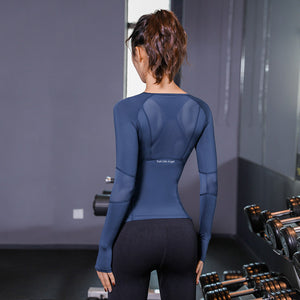 Women's Jersey knitting Long Sleeve Gym Top T-shirt