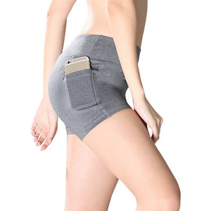 High Waist Elastic Pocket Stitching Hip Yoga Bottoms