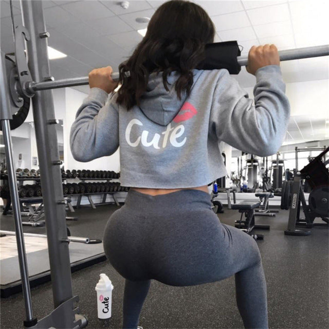 Women Gym Long Sleeve Hooded Shirt Fitness Yoga Crop Top