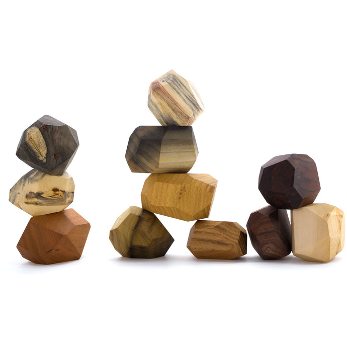 11 Pieces Wooden Tumi Ishi Set Handmade Stacking Stone -Open-ended Toy