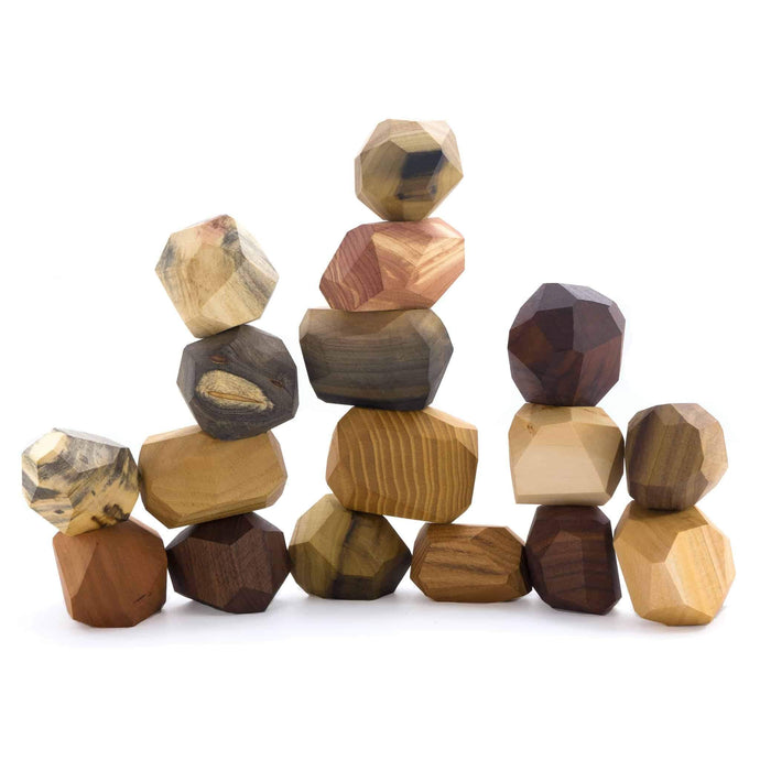17 Pieces Wooden Tumi Ishi Set Handmade Stacking Stone -Open-ended Toy
