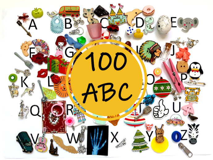 ABC 100 Alphabet Objects Set - Montessori Learning by Playing Material