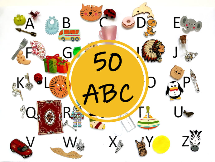 ABC 50 Alphabet Objects Set - Montessori Learning by Playing Material